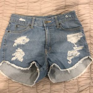 LF Carmar distressed high waisted shorts